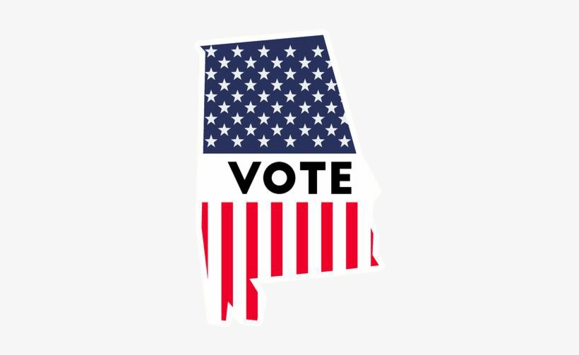 98787049 Usa Presidential Election 2016 Vote Sticker - Alabama State Outline American Flag, transparent png #3080011