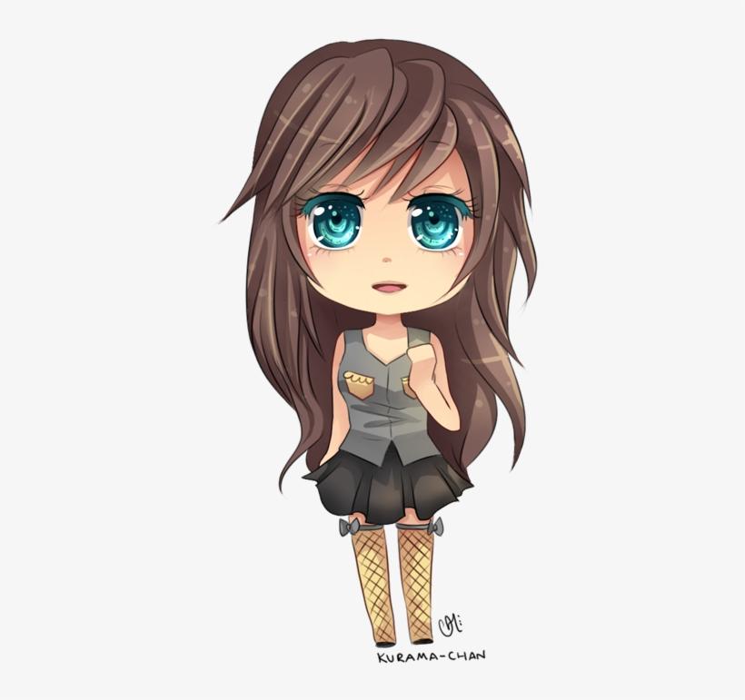 Chibi Girl With Brown Curly Hair - Chibi Girl Brown Hair Blue Eyes, transparent png #3082560