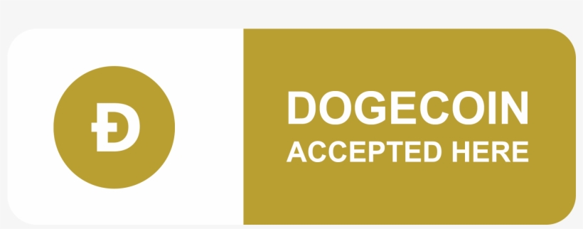 Dogecoin Accepted Here Sign - Here We Accept Bitcoin Litecoin, transparent png #3087902
