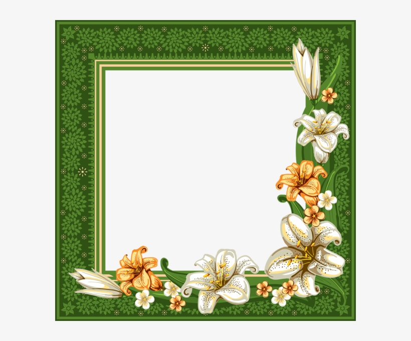 Green Transparent Frame With Flowers - Frames And Borders Flowers Green, transparent png #3089938