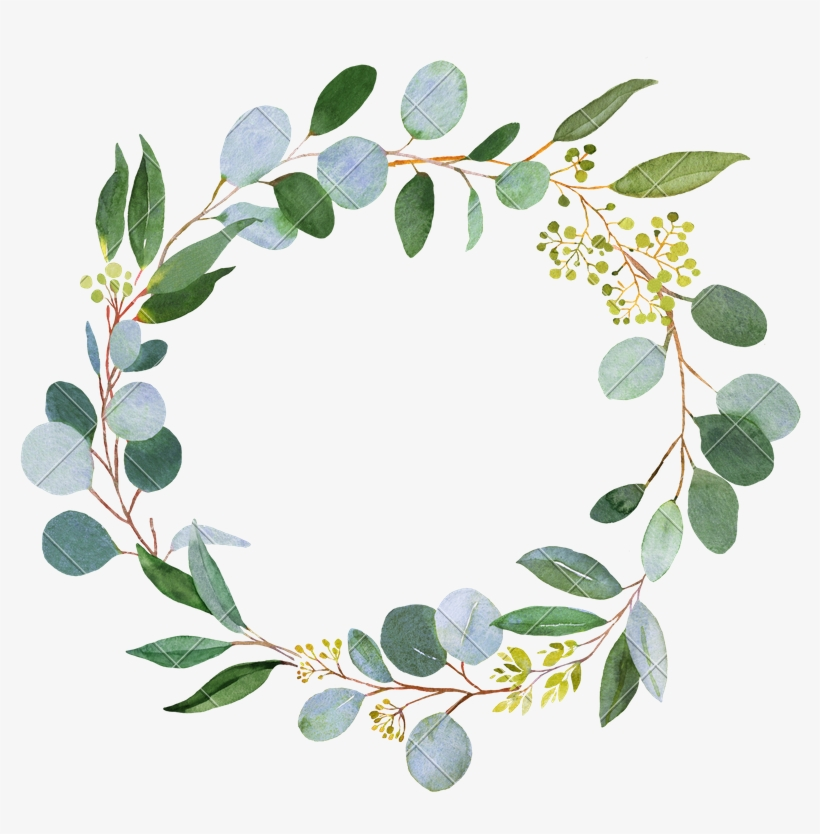 Green Wreath Png Picture Black And White - Greenery Wreath Watercolor, transparent png #310522