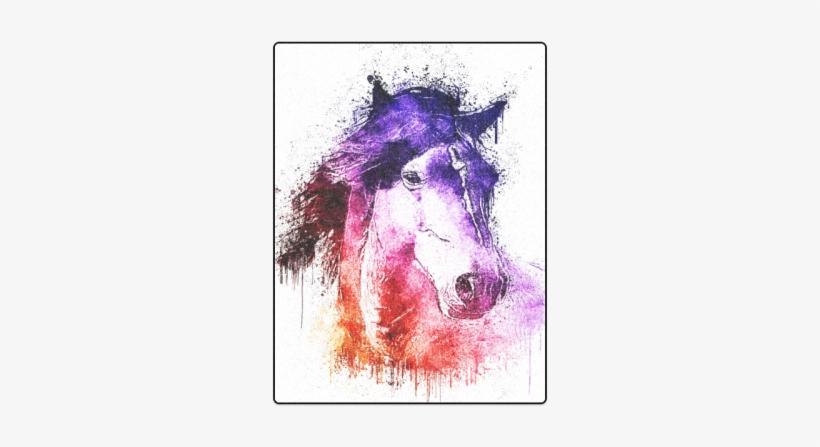 "Watercolor Horse Blanket 50""x60"" - Watercolor Horse Pillow Case, transparent png #313628"