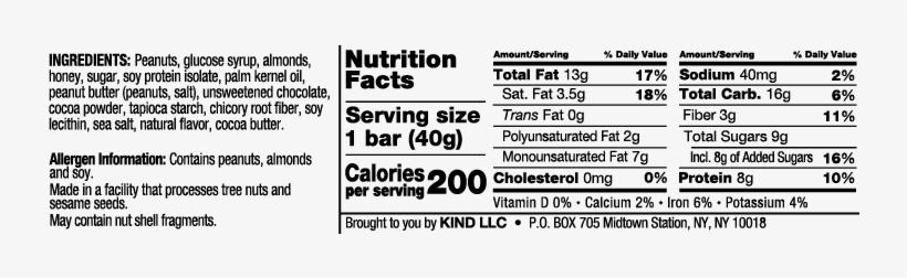 Peanut Butter Dark Chocolate - Kind Bar Peanut Butter Dark Chocolate Nutrition Facts, transparent png #315176