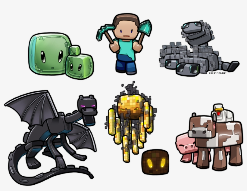Drawn Minecraft Adorable - Gb Minecraft Characters Mini Poster 40x50cm, transparent png #316143