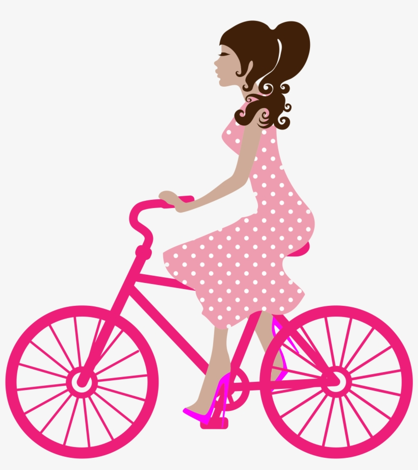 Girl On Bike Icons Png - Girl Biking Clipart, transparent png #316646