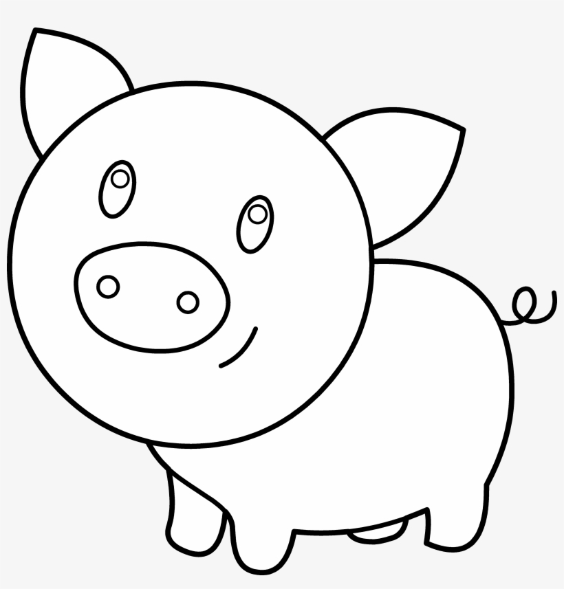 Clipart Pig Template - Pig Clipart Black And White Outline ...