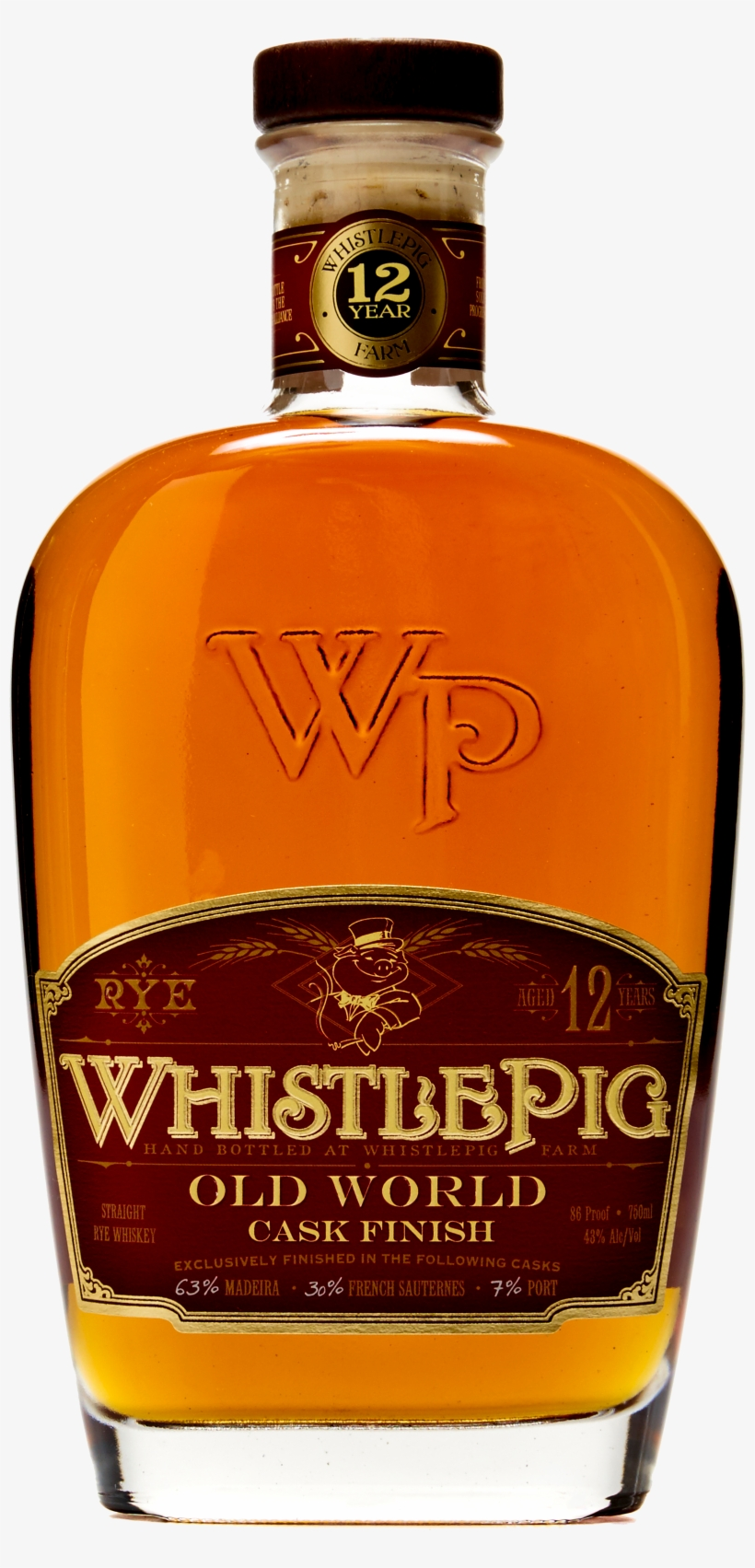 12yr Btl Shot Transparent [image] - One World Whistlepig Old World 12 Year Rye Whiskey, transparent png #3107476