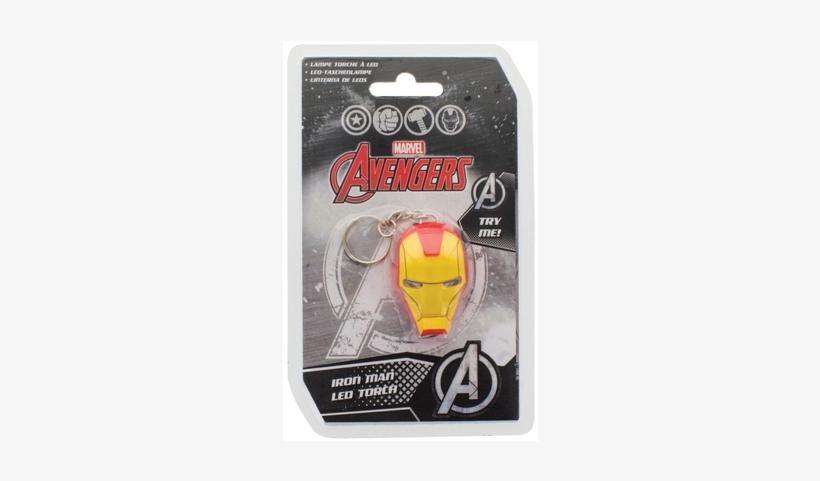 Marvel Comics Light-up Keychain Iron Man - Iron Man Helmet Led Torch, transparent png #3111109