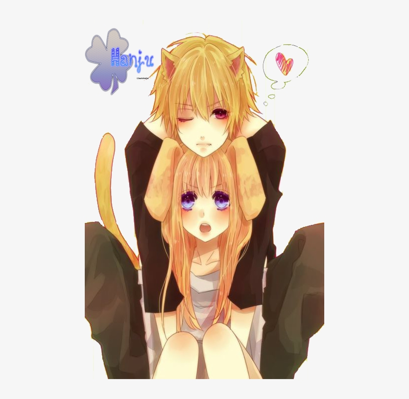 Cute Neko Couple By Hinamori6457-d52thx1 - Anime Cat Boy And Girl, transparent png #3129644