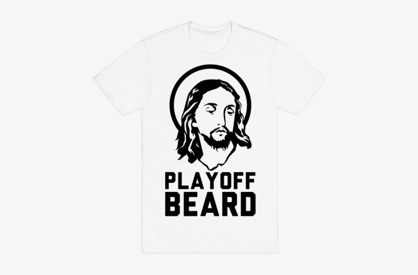 Jesus Playoff Beard Mens T-shirt - Mens Halloween T Shirt, transparent png #3131156