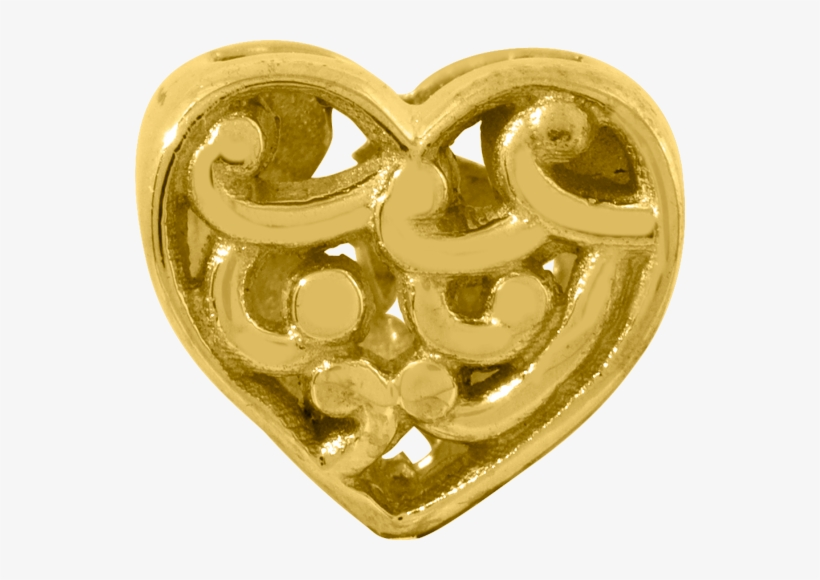 14k Yellow Gold Reflections Scroll Heart Bead - Goldia 14k Gold Reflections Scroll Heart Bead, Girl's, transparent png #3137422