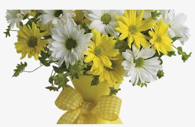 Vase With Yellow And White Daisies Png Clipart Picture - Flowers White N Yellow, transparent png #3140510