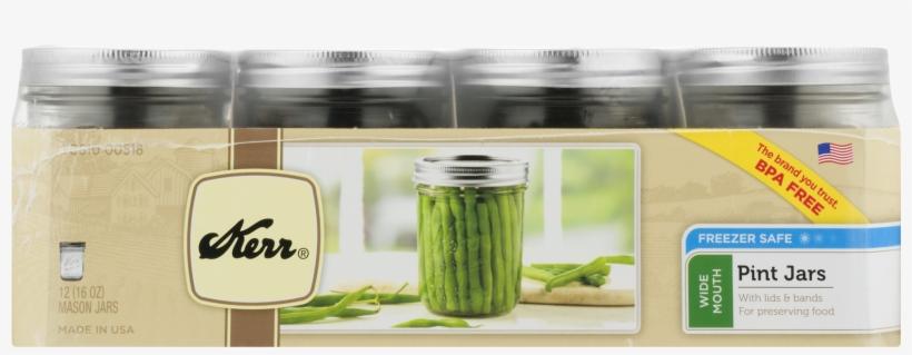 Kerr Wide Mouth Pint Glass Mason Jar W/lid & Band, - Kerr Wide Mouth Mason Jar Set - 16 Oz - Set Of 12, transparent png #3146045