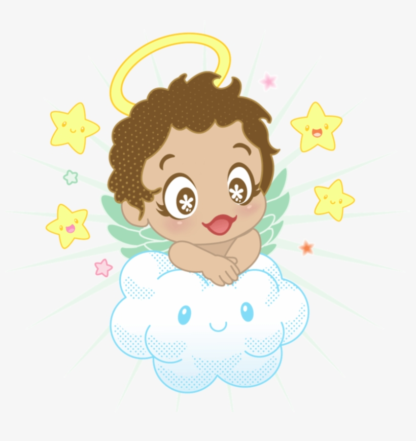 Small Angel With Cloud And Stars Png Clipart - Cloud Angel
