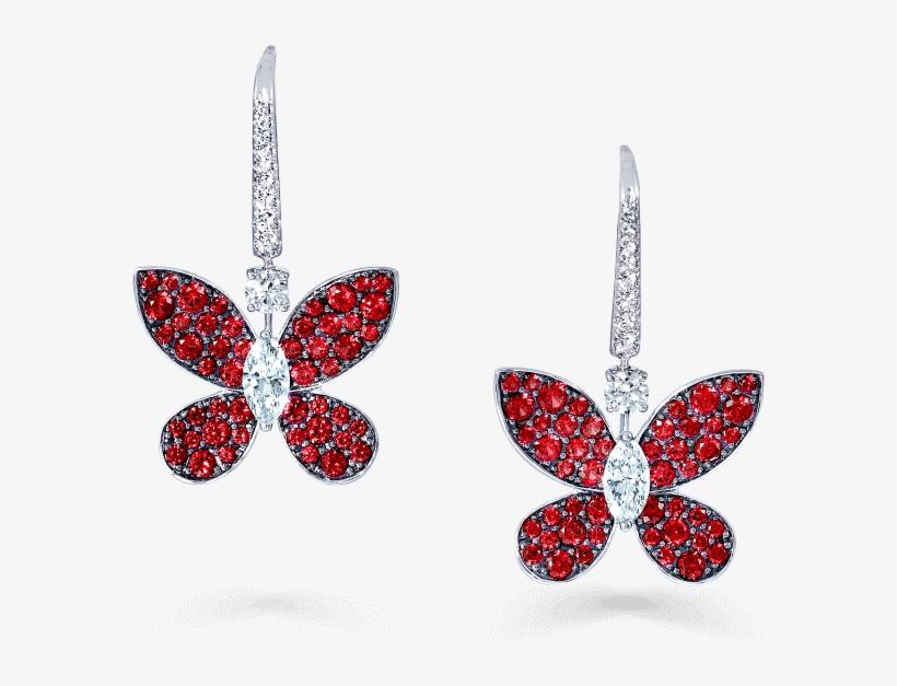 A Pair Of Graff Pavé Butterfly Drop Earrings Pave Set - Graff Diamonds, transparent png #3151644