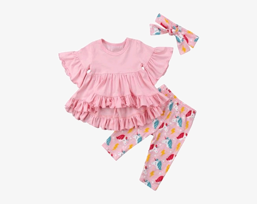 Petite Bello Clothing Set 6-12 Months Pink Unicorn - Kids Clothes Girl, transparent png #3152342