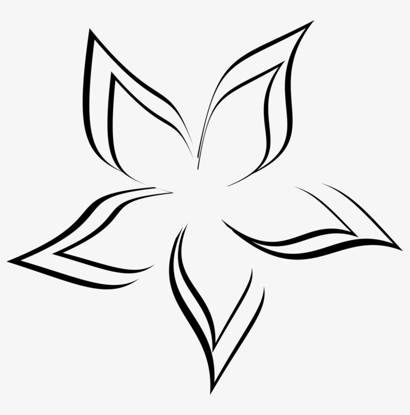 Black And White Drawing Abstract Art Flower Visual - Abstract Flower Line Drawing, transparent png #3154925