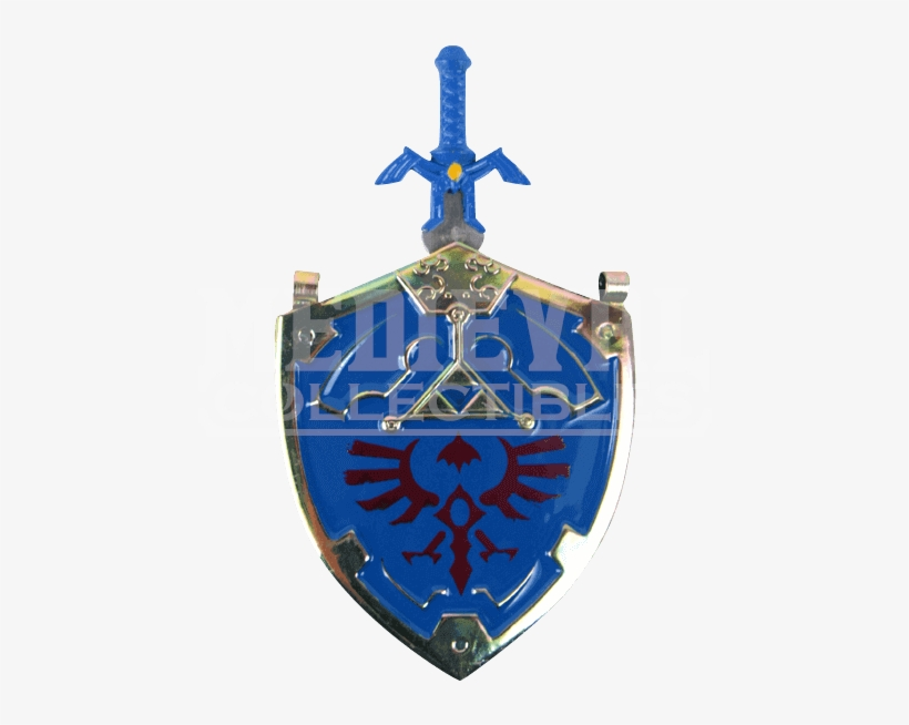 Blue Master Sword And Shield Necklace, transparent png #3157076
