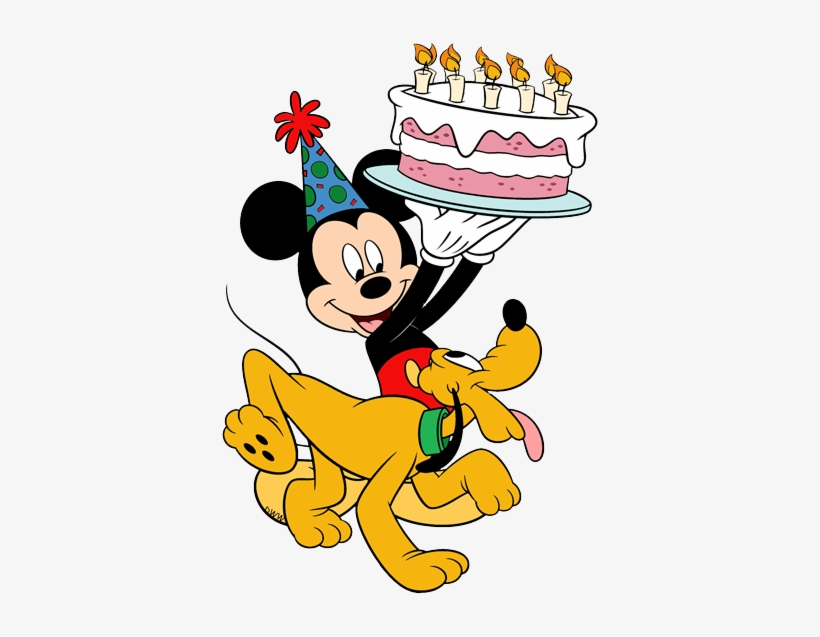 Disney Birthdays And Parties Clip Art - Mickey Mouse Holding Birthday Cake, transparent png #3158560