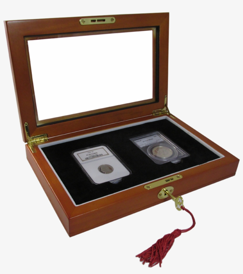 Two Slab Glass Top Wood Coin Display Box With Key And - Two Slab Glass Display Case, transparent png #3161843