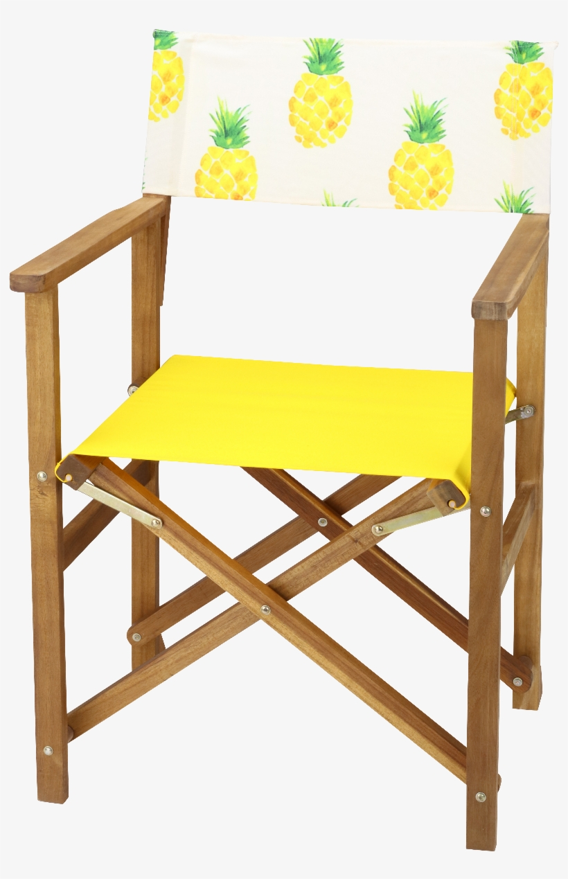 Acacia Hardwood Director Chair Set With Pineapple Print - Chair, transparent png #3162906