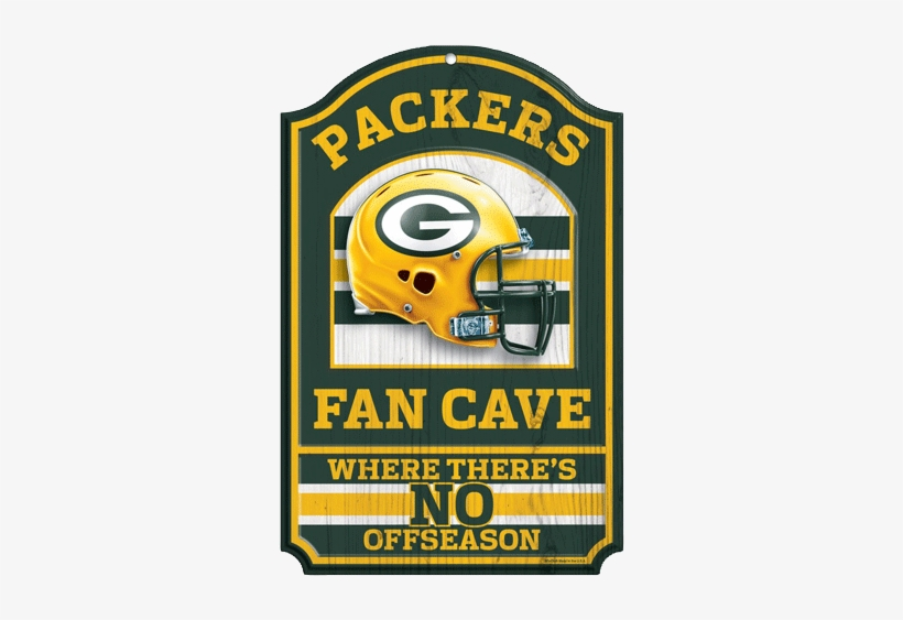 "Green Bay Packer Fan Cave Wood Sign 2 Pc Min - Green Bay Packers Wood Sign - 11""x17"" Fan Cave Design, transparent png #3172190"