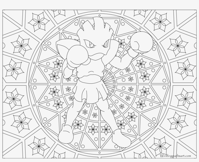 #107 Hitmonchan Pokemon Coloring Page - Adult Pokemon Coloring Pages, transparent png #3176324