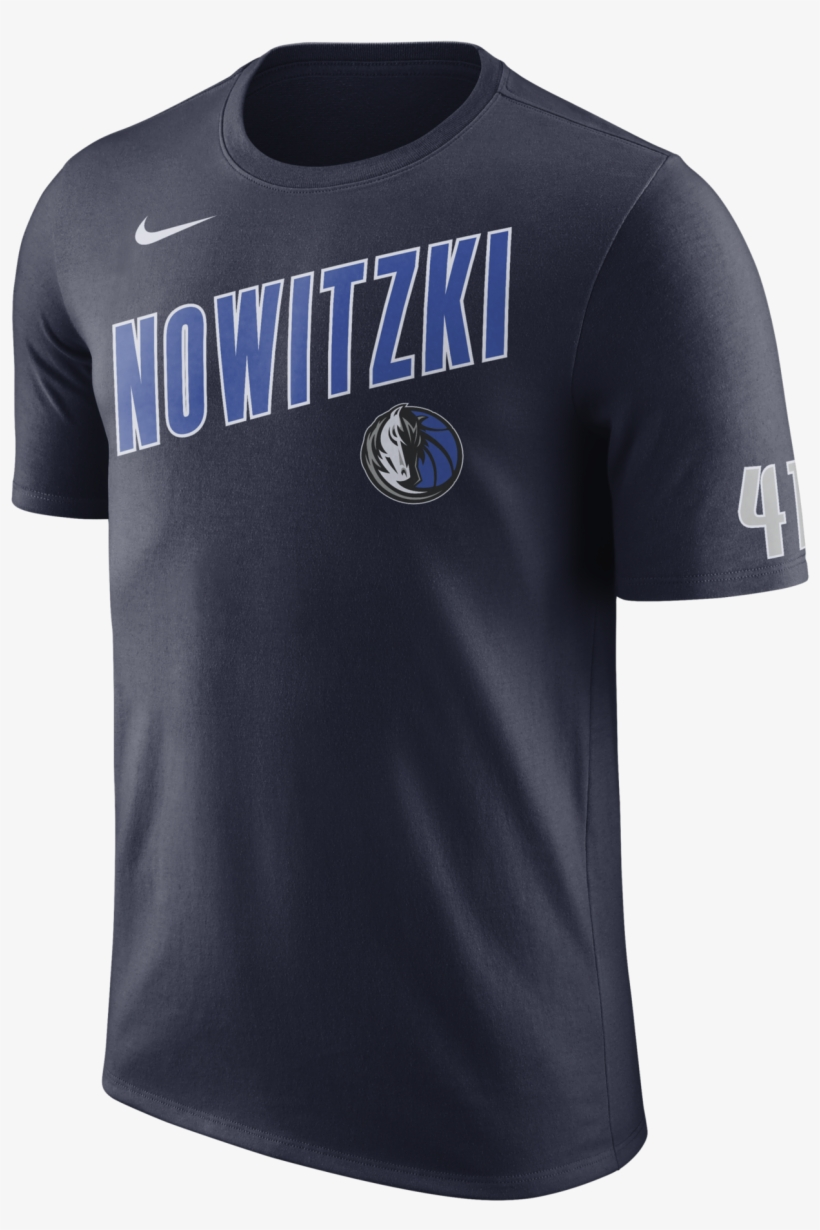 Dallas Mavericks Nike Dirk Nowitzki Name Navy Tee - New York Knicks Tshirt, transparent png #3183830