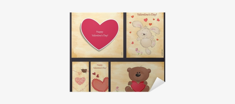 Set Of Romantic Greeting Cards Happy Valentine's Day - Valentine's Day, transparent png #3191142