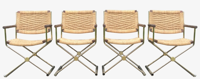 4 Vintage Regency Style Director Chairs With Rattan/rope - Director's Chair, transparent png #3198322
