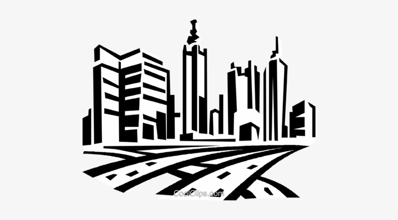 Roadways And City Skyline Royalty Free Vector Clip - Buildings Clip Art, transparent png #320768