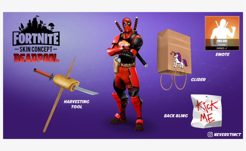 Free Back Bling In Fortnite Deadpool Has Broken The Fourth Wall And Landed In Katana Back Bling Fortnite Free Transparent Png Download Pngkey