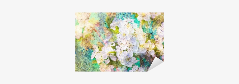 Spring White Flowers And Messy Watercolor Splashes - Watercolor Painting, transparent png #321635