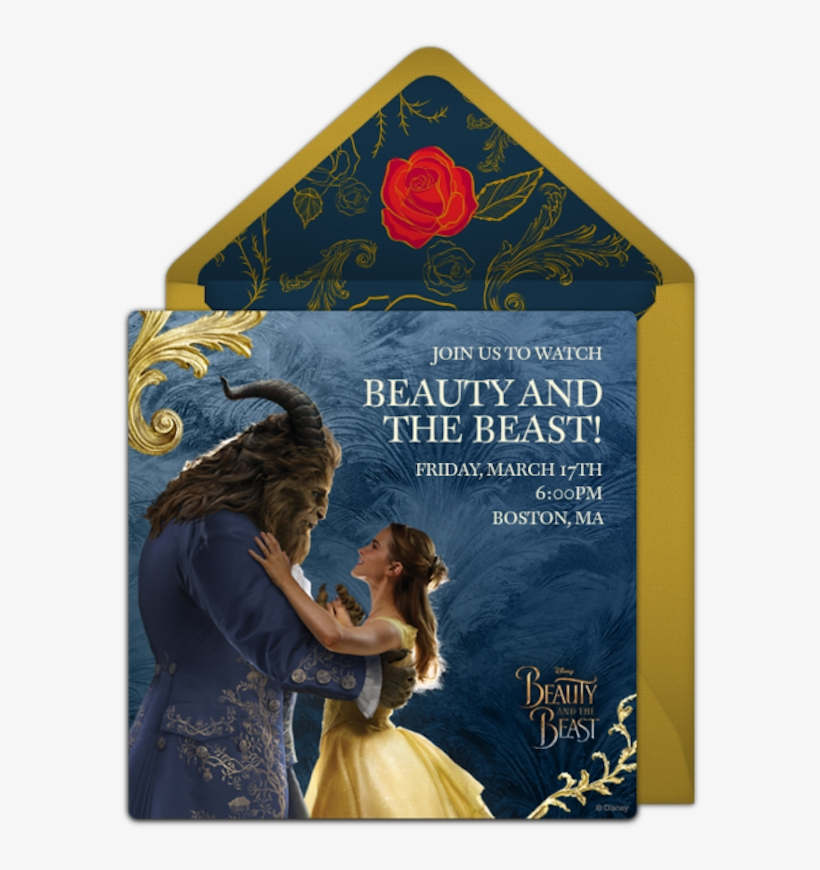 Send A Personalized Beauty And The Beast Invitation - Online Invitations Beauty And The Beast, transparent png #322214