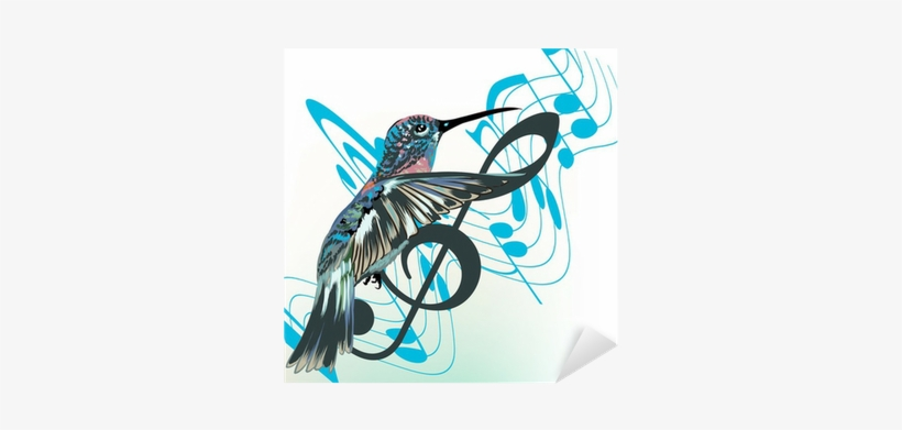 Music Background With Notes, Treble Clef And Hummingbird - Hummingbird Silhouette With Music Notes, transparent png #323244