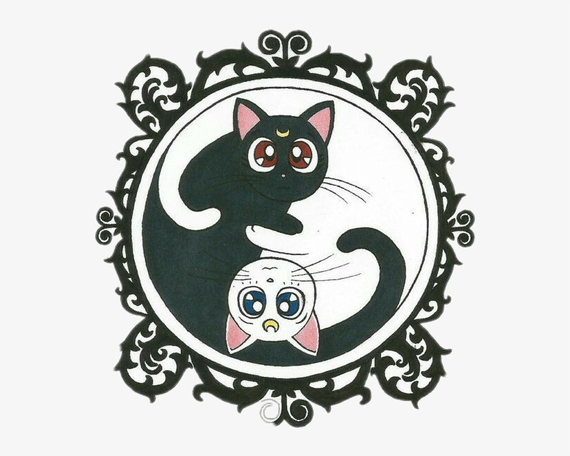 Sailormoon Sailor Luna Artemis Clipart Black And White - Yin Yang Cats Sailor Moon, transparent png #328756