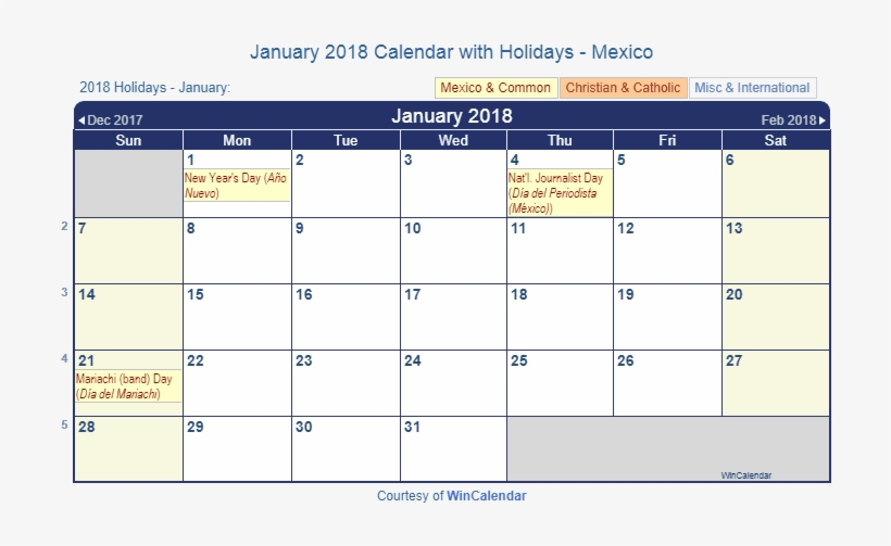 Mexican Calendar 2019 January 2018 Calendar With Mexican Holidays To Print   Jan 2019