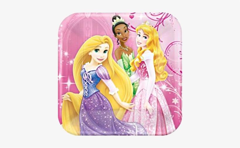 """Disney Princess Sparkle Lunch Party Plates - Amscan Disney Princess 7"""" Cake Plates (8 Pack), transparent png #3202196"""