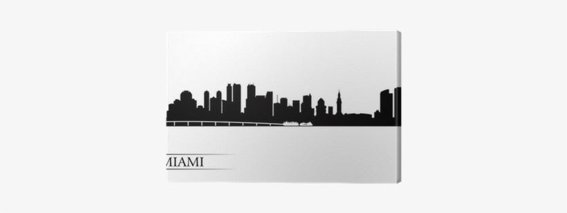 Miami City Skyline Silhouette Background Canvas Print - Silhouette Miami Skyline Logo, transparent png #3207245