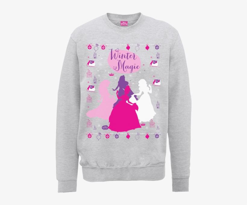 Disney Princess Christmas Princess Silhouettes Grey - Disney Womens Minnie Mouse Christmas Jumper, transparent png #3208283