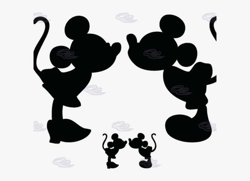 Mickey And Minnie Silhouette Kissing Download - Mickey Mouse And Minnie Mouse Silhouette, transparent png #3209334
