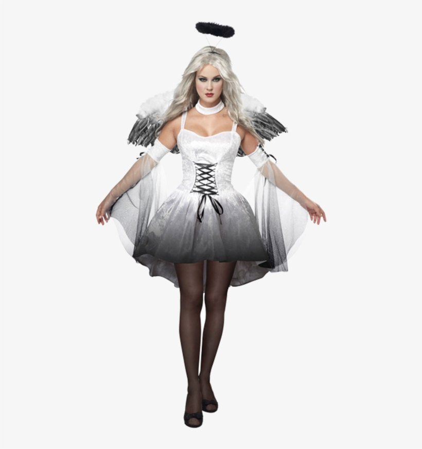 Ladies Animal Fancy Dress Tutu With Ears Bow Tail Set - White Fallen Angel Costume, transparent png #3222016