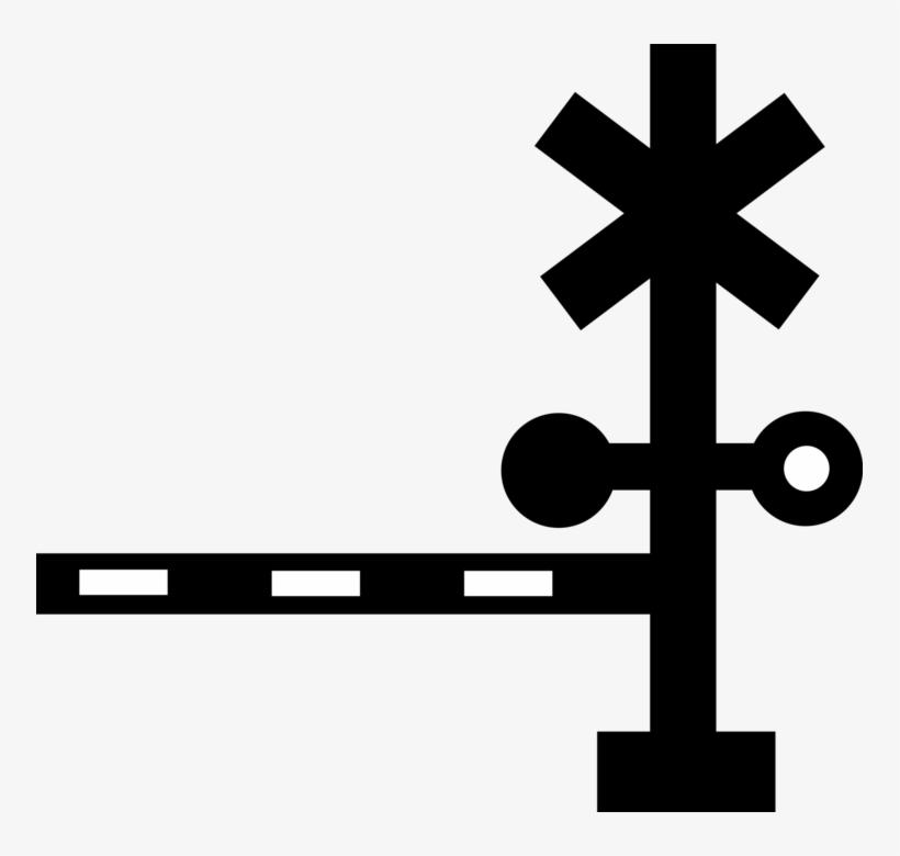 Vector Illustration Of Railroad Rail Transport Speeding - Level Crossing, transparent png #3233694