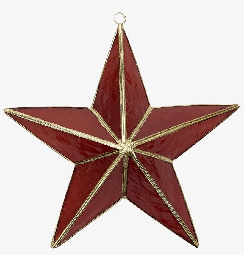 Capiz 3d Star Ornament In Red & Gold - Capiz 3d Star Ornament In Red & Gold, transparent png #3234747