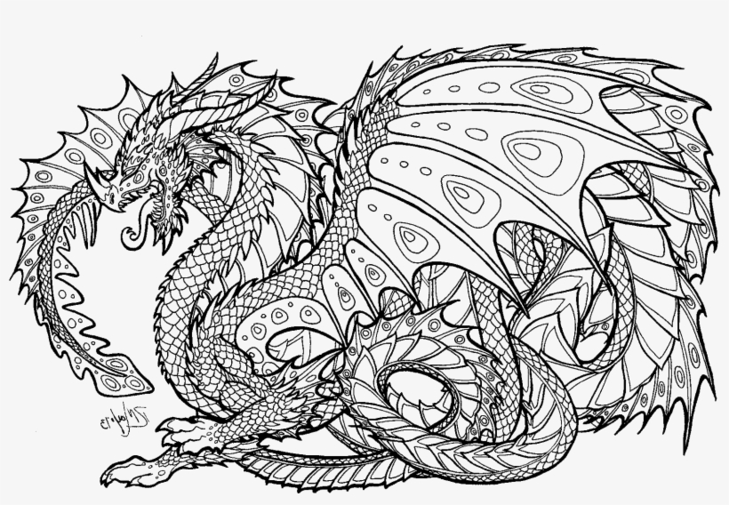 Realistic Dragon Coloring Pages For Adults - Adult Colouring Pages Dragon, transparent png #3238217