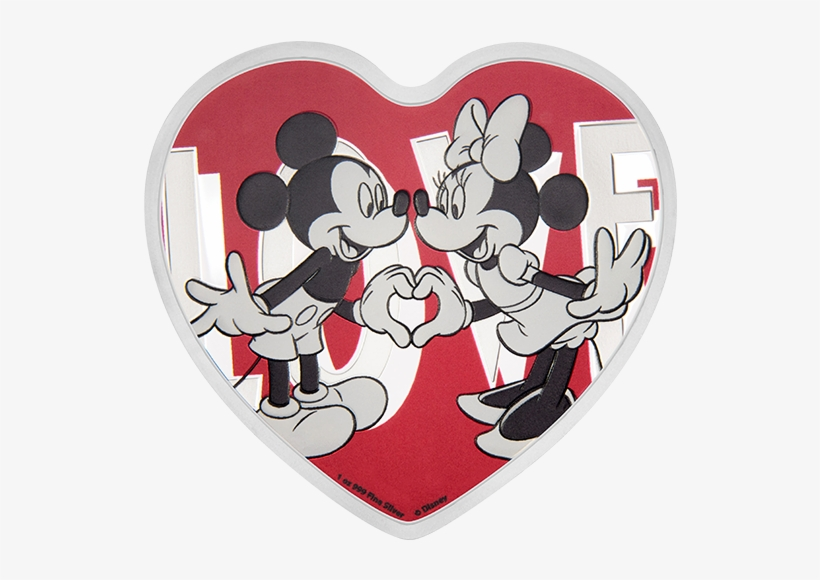 Pure Silver Heart-shaped Coin - 2018 Disney - With Love 1oz Silver Coin, transparent png #3252345