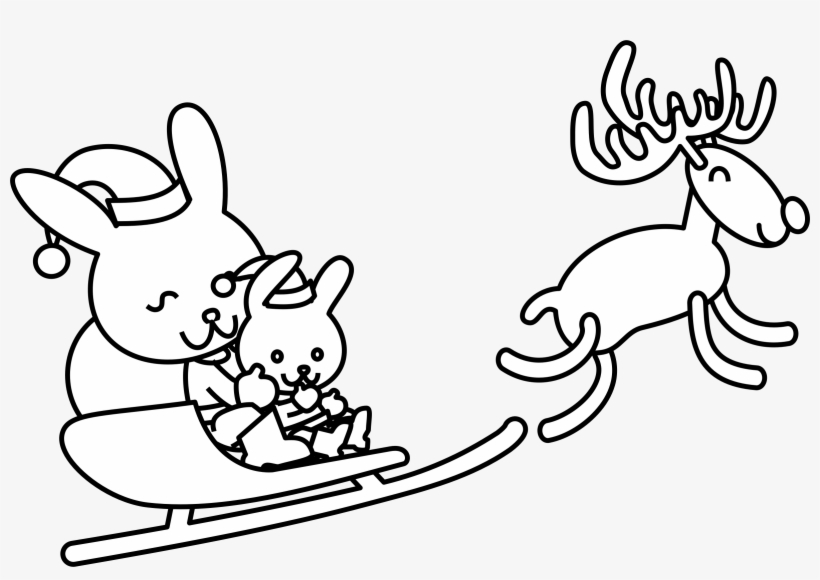 Png Freeuse Download Santa Bunny Coloring Page - Christmas Bunny Coloring Pages, transparent png #3260876