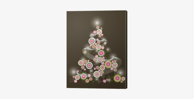 Retro Circle Pink Green Christmas Tree Canvas Print - Pink Christmas Tree, transparent png #3261384