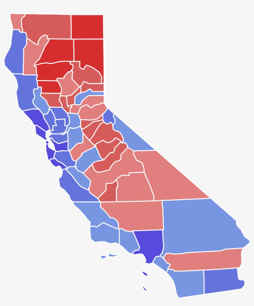 California 2016 Election Results By County, transparent png #3262961