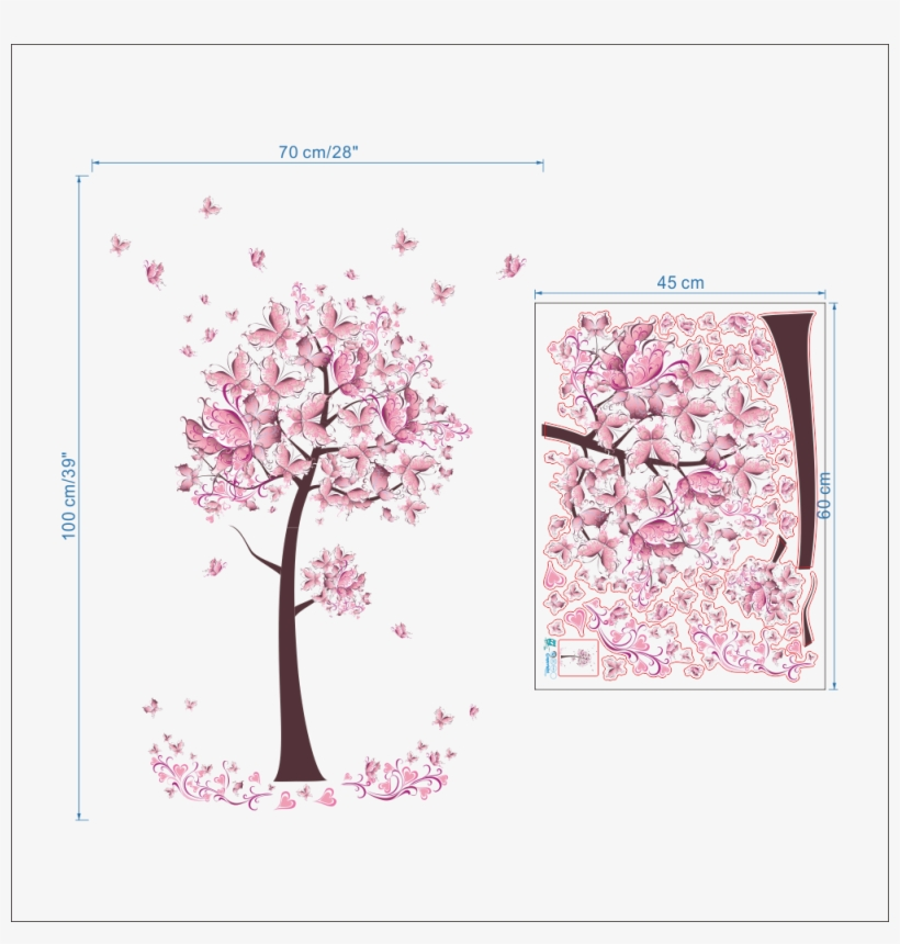 Fancy Wall Decoration 3d Sticker Pink Tree Butterfly - Flower And Girl Wall Stickers, transparent png #3273403